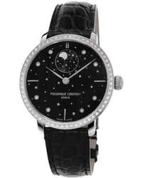 Frederique Constant - Fc-701bsd3sd6 Slimline Moonphase Stainless Steel Diamond And Leather Watch - Lyst