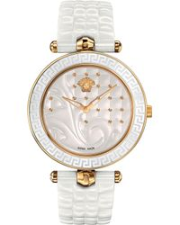 Versace - Vao030016 Vanitas Gold-plated Ceramic And Leather Watch - Lyst