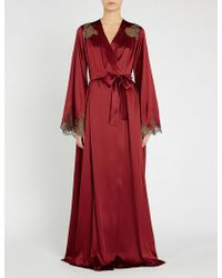 I.D Sarrieri - Lace Trim Long Silk-satin Robe - Lyst
