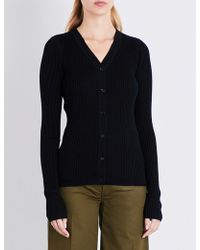 JOSEPH - Ribbed-knit Wool Silk And Cashmere-blend Cardigan - Lyst