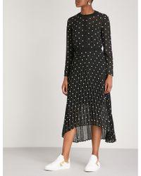 Maje - Embroidered Crepe-chiffon Dress - Lyst
