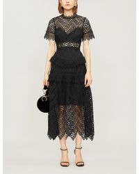 Self-Portrait - Abstract Triangle Lace Midi Dress - Lyst