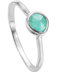 Monica Vinader - Siren Sterling Silver And Amazonite Small Stacking Ring - Lyst