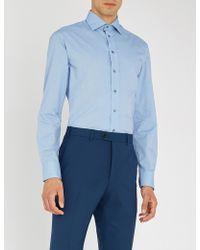 Emporio Armani - Birdseye-print Modern-fit Cotton Shirt - Lyst