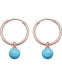 Astley Clarke - Vera Rose-gold Vermeil & Turquoise Drop Hoop Earrings - Lyst