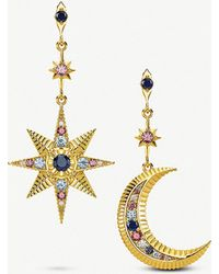 Thomas Sabo - Kingdom Of Dreams Royalty Star & Moon 18ct Yellow-gold Plated Sterling Silver Earrings - Lyst
