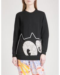 Fyodor Golan - Diamanté-embellished Felix The Cat Cotton-jersey Sweatshirt - Lyst