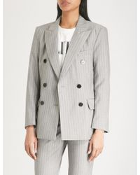 Mo&co. - Pinstriped Wool Jacket - Lyst