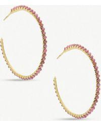 Kendra Scott - Birdie 14ct Gold-plated Brass And Pink Rhodonite Hoop Earrings - Lyst