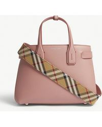 Burberry - Dusty Rose Pink Check New Banner Small Grained Leather Tote Bag - Lyst