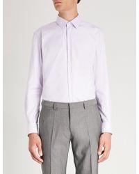 BOSS - Geometric-pattern Cotton Shirt - Lyst
