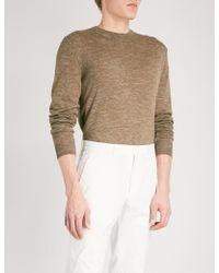 Corneliani - Melange Wool Silk And Linen-blend Jumper - Lyst