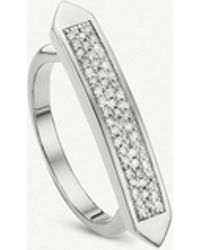 Monica Vinader - Baja Skinny Sterling Silver And Diamond Ring - Lyst