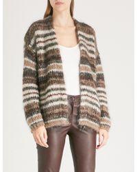 Brunello Cucinelli - Ziz-zag Intarsia Mohair And Wool-blend Cardigan - Lyst