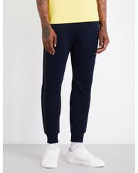 The Kooples Sport - Faux Leather Trimmed Cotton Jogging Trousers - Lyst
