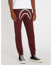 A Bathing Ape - Shark-motif Cotton-blend Jogging Bottoms - Lyst
