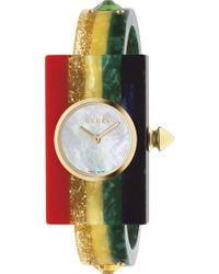 Gucci - Ya143520 Yellow-gold Pvd And Plexiglas Watch - Lyst