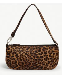 BY FAR Rachel Leopard Shoulder Bag - Brown