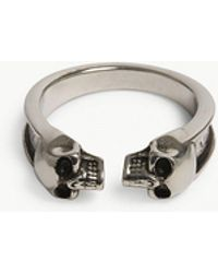 Alexander McQueen - Twin Skull Thin Ring - Lyst