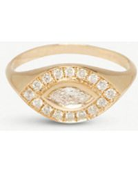 The Alkemistry - Zoë Chicco 14ct Yellow-gold And Diamond Halo Signet Ring - Lyst