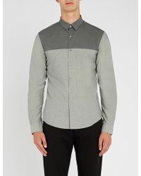 Emporio Armani - Contrasting Panel Slim-fit Cotton Shirt - Lyst