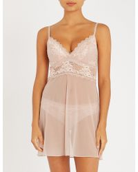 Wacoal - Lace Perf Stretch-lace And Mesh Chemise - Lyst
