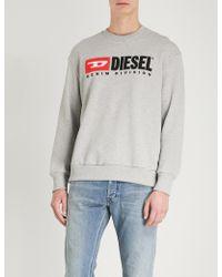 DIESEL - S-crew-division Logo-embroidered Cotton-jersey Jumper - Lyst