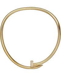 Cartier - Juste Un Clou Torque 18ct Pink-gold And Diamond Necklace - Lyst