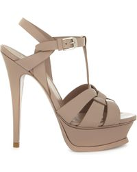 Saint Laurent - Tribute 105 Patent-leather Sandals - Lyst
