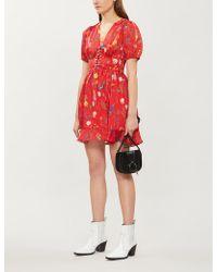 b9c7c3471 The Kooples - Floral-print Lace-up Crepe De Chine Dress - Lyst