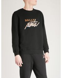Bally - Logo-embroidered Cotton-fleece Sweatshirt - Lyst
