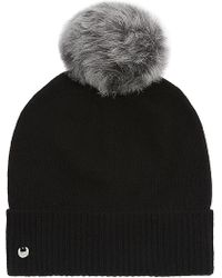UGG - Ribbed Cuff Wool-cashmere Pompom Beanie - Lyst