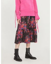 McQ - Floral-print Ruched Silk-satin Skirt - Lyst