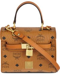 MCM - Gold Visetos Small Doctor Bag - Lyst