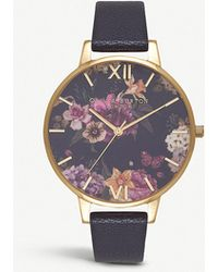 Olivia Burton - Ob16eg78 Floral-print Gold-plated And Leather Watch - Lyst