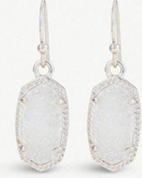 Kendra Scott - Lee Rhodium And Iridescent Drusy Stone Earrings - Lyst