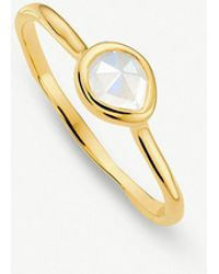 Monica Vinader - Siren 18ct Gold Vermeil And Moonstone Small Stacking Ring - Lyst