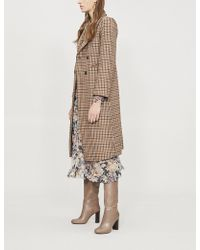 Sandro - Colere Checked Wool-blend Coat - Lyst