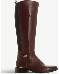 f7e8fd584e9d Dune Maroon Leather 'traviss' Knee High Boots in Brown - Lyst