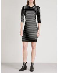 Mo&co. - Striped Ribbed-knit Mini Dress - Lyst