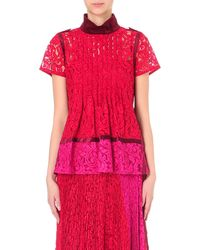 Sacai - Pleated Floral-lace Top - Lyst