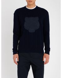KENZO - Tiger-embroidered Wool-blend Jumper - Lyst