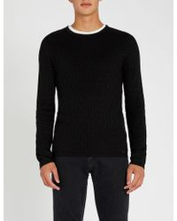 HUGO - Diamond-textured Stretch-knit Jumper - Lyst