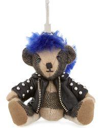 Burberry - Punk Thomas Bear Check Cashmere Keyring - Lyst