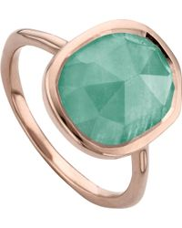 Monica Vinader - Siren 18ct Rose Gold Vermeil And Amazonite Medium Stacking Ring - Lyst