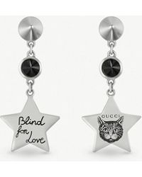 340f555cee0 Gucci - Blind For Love Star-shaped Sterling Silver And Black Spinel Earrings  - Lyst