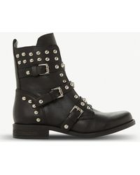 Steve Madden - Spunky Stud And Zip-detail Leather Boots - Lyst