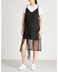 Mo&co. - Mesh Cotton-blend Slip Dress - Lyst
