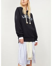 Loewe - Distressed Logo-embroidered Cotton Hoody - Lyst