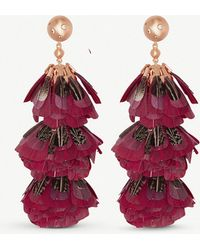 Kendra Scott - Lenni 14ct Gold-plated And Maroon Feather Tassel Earrings - Lyst